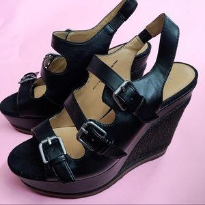 Nine West Black Platform Wedges